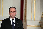 THE PRESIDENT FRANCOIS HOLLANDE RECEIVES GERMAN CHANCELLOR ANGELA MERKEL TO ELYSEE<br /> ©Exclusivepix Media