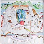 Panel 1 of The Great Tapestry of Scotland. A project by Alexander McCall Smith, Alistair Moffat and illustrator Andrew Crummey.Photographed in Rm P102 at the Scottish Parliament, Holyrood, Edinburgh during the photocall for the First Stitch in the tapestry which was made by Tricia Marwick the Presiding Officer. 23/03/2012..pic Alex Hewitt.alex.hewitt@gmail.com.07789 871540