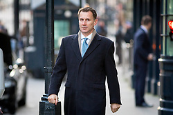 © Licensed to London News Pictures. 30/01/2018. London, UK. Health and Social Care Secretary Jeremy Hunt arriving in Downing Street to attend a Cabinet meeting this morning. Photo credit : Tom Nicholson/LNP