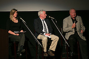 Veronica Volk of WXXI News, Gary Craig of the Democrat & Chronicle, and John York, former Livingston County Sheriff, speak during the recording of the final episode of Finding Tammy Jo at The Little Theatre in Rochester on Monday, June 13, 2016.