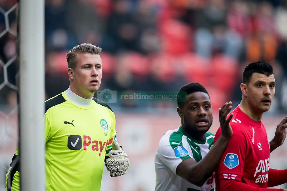 goalkeeper Sergio Padt of FC Groningen, Deyovaisio Zeefuik of FC Groningen, Haris Vuckic of FC Twente during the Dutch Eredivisie match between FC Twente Enschede and FC Groningen at the Grolsch Veste on March 04, 2018 in Enschede, The Netherlands