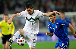 Andraz Kirm of SLovenia vs Christian Maggio of Italy during EURO 2012 Quaifications game between National teams of Slovenia and Italy, on March 25, 2011, SRC Stozice, Ljubljana, Slovenia. (Photo by Vid Ponikvar / Sportida)