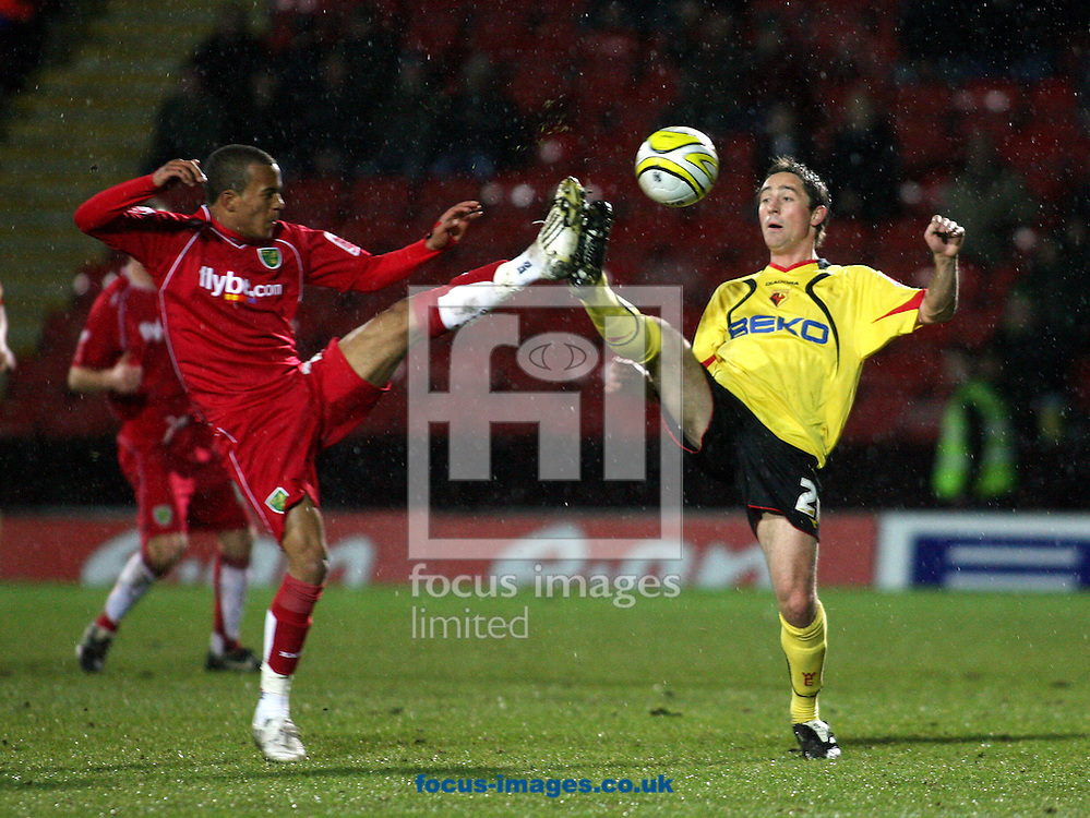 London - Tuesday, March 4th, 2008: Tommy Smith of Watford and Ryan Bertrand of Norwich City during the Coca Cola Champrionship match at Vicarage Road, London. (Pic by Chris Ratcliffe/Focus Images)