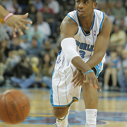 23 December 2008:  New Orleans Hornets guard Chris Paul (3) throws a pass during a 100-87 loss by the New Orleans Hornets to the Los Angeles Lakers at the New Orleans Arena in New Orleans, LA. .