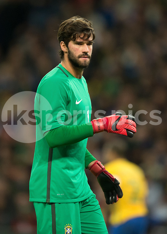 Alisson of Brazil during the International Friendly match between England and Brazil at Wembley Stadium, London, England on 14 November 2017. Photo by Vince Mignott.