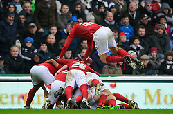 Nottingham Forest Defender Elliott Ward (ENG) dives on top of a pile-on as his side celebrate after Midfielder Chris Cohen (ENG) scores a goal to give his side a 1-0 lead during the first half of the match - Photo mandatory by-line: Rogan Thomson/JMP - Tel: Mobile: 07966 386802 19/01/2013 - SPORT - FOOTBALL - Pride Park - Derby. Derby County v Nottingham Forest - npower Championship. The meeting of these two local sides is known as the East Midlands Derby with the winner claiming the Brian Clough Trophy.