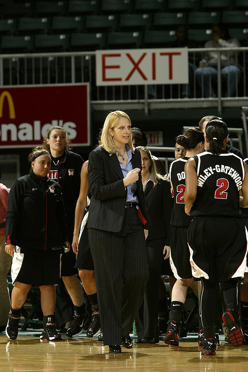 University of Maryland head coach Brenda Frese in action during the Terrapins 111-53 victory over the Miami Hurricanes on January 10, 2007 at the BankUnited Center in Coral Gables, Florida.