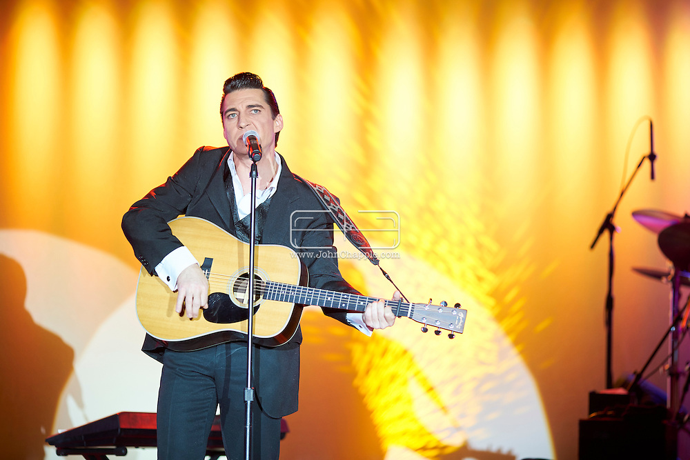 February 22, 2016. Las Vegas, Nevada.  The 22nd Reel Awards and Tribute Artist Convention in Las Vegas. Celebrity lookalikes from all over the world gathered at the Golden Nugget Hotel for the annual event. Pictured is  Johnny Cash lookalike, Shawn Barker.<br /> Copyright John Chapple / www.JohnChapple.com /