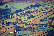 Stone walls, pastures and cottages on the Yorkshire Dales Northern Yorkshire, England