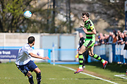 Forest Green Rovers Christian Doidge(9) heads the ball during the Vanarama National League match between Guiseley  and Forest Green Rovers at Nethermoor Park, Guiseley, United Kingdom on 8 April 2017. Photo by Shane Healey.