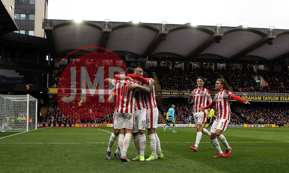 Stoke City celebrate Joselu's goal at Watford - Mandatory byline: Robbie Stephenson/JMP - 19/03/2016 - FOOTBALL - Vicarage Road - Watford, England - Crystal Palace v Leicester City - Barclays Premier League