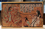 A banner with the genealogy of the deceased to sew on the mummy cover. , 746-332 BC Thebes, textile, gold