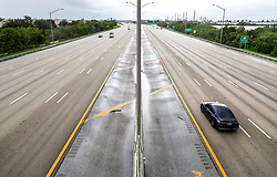 September 2, 2019, West Palm Beach, Florida, USA: Afternoon traffic on Interstate 95 through West Palm Beach is extremely light Monday, September 2, 2019 as Hurricane Dorian slowly approaches the state. (Credit Image: © Lannis Waters/The Palm Beach Post via ZUMA Wire)