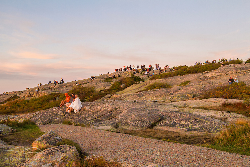 The crowd on Cadillac Mountain in Maine's Acadia National Park. Sunrise.