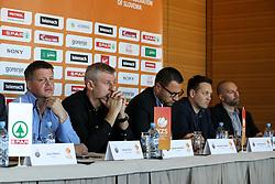 Bostjan Kuhar, Damjan Novakovic, Konstantin Subotic, Aleksander Sekulic and Ernest Novak at press conference before new season of KZS Nova KBM League 2016/17, on October 05, 2016, in Radisson Blu Plaza Hotel, Ljubljana. Photo by Matic Klansek Velej / Sportida.