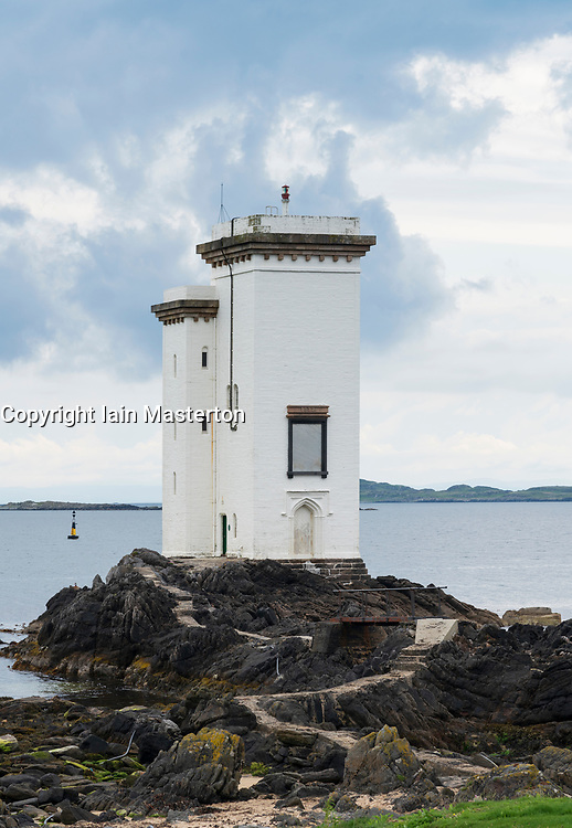 Carraig Fhada lighthouse on Islay in Inner Hebrides, Scotland , UK