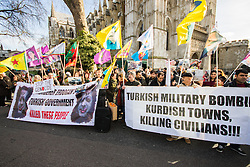 "Queen Elizabeth II Conference Centre, Westminster, February 4th 2016. Dozens of Kurds demonstrate outside the Supporting Syria conferencee, protesting against the presence of Turkish Prime Minister Ahmet Davutoglu and Britain's support for Turkey, which they accuse of being a ""Terrorist State"". ///FOR LICENCING CONTACT: paul@pauldaveycreative.co.uk TEL:+44 (0) 7966 016 296 or +44 (0) 20 8969 6875. ©2015 Paul R Davey. All rights reserved."
