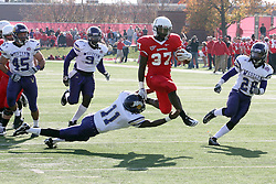 05 November 2011:  Darrelynn Dunn heads straight up the middle for a gain and a touchdown after leaping over Maurice Hood during an NCAA football game between the Western Illinois Leathernecks and the Illinois State Redbirds at Hancock Stadium in Normal IL