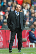 Newcastle United manager Rafael Benítez instructs his team during the Premier League match between Tottenham Hotspur and Newcastle United at Wembley Stadium, London, England on 2 February 2019.