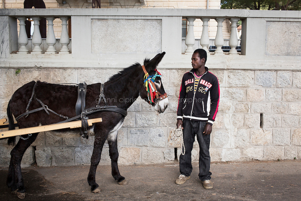 RIACE, ITALY - 24 October 2013: Daniel Yaboah, 32, is here with the donkey he works with to collect garbage in Riace, Italy, on October 24th 2013.