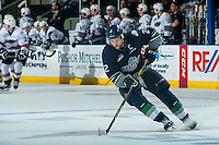KELOWNA, CANADA - APRIL 22: Jerret Smith #2 of Seattle Thunderbirds skates with the puck against the Kelowna Rockets on April 22, 2016 at Prospera Place in Kelowna, British Columbia, Canada.  (Photo by Marissa Baecker/Shoot the Breeze)  *** Local Caption *** Jerret Smith;