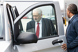© Licensed to London News Pictures . 10/01/2019. Wakefield, UK. JEREMY CORBYN gets in to his car after delivering a speech about Brexit at OE Electronics in Calder Park , West Yorkshire , in which he calls for a new General Election if Prime Minister Theresa May's Brexit plan is rejected by Parliament . Photo credit: Joel Goodman/LNP