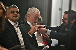 © Licensed to London News Pictures. 09/04/2018. London, UK. Labour Party leader JEREMY CORBYN and Mayor of London SADIQ KHAN attend the launch event for the Labour Party local election campaign launch in central London.  Labour are expected to make gains in the capital, potentially taking traditionally Conservative strongholds. Photo credit: Ben Cawthra/LNP