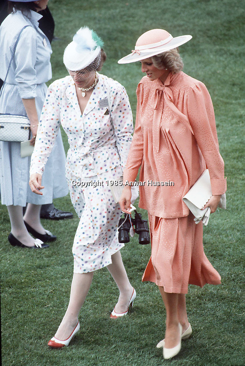 ASCOT - JUNE 20:  Diana, Princess of Wales, wearing a peach coloured Jan Van Velden outfit and a hat by Frederick Fox, chats to Princess Anne at the Royal Ascot race meeting on June 20, 1985 in Ascot, England.  (Photo by Anwar Hussein/Getty Images) *** Local Caption *** Diana, Princess of Wales;Princess Anne