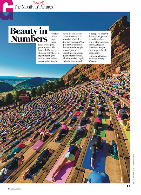 Yoga on the Rocks at Red Rocks Amphitheater, Morrison, Colorado in the October 2016 issue of GLAMOUR Magazine, photo by Blaine Harrington III.