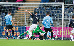 Falkirk's Conor McGrandles scoring their first goal.<br /> Falkirk 2 v 0 Dundee, Scottish Championship game at The Falkirk Stadium.<br /> &copy; Michael Schofield.