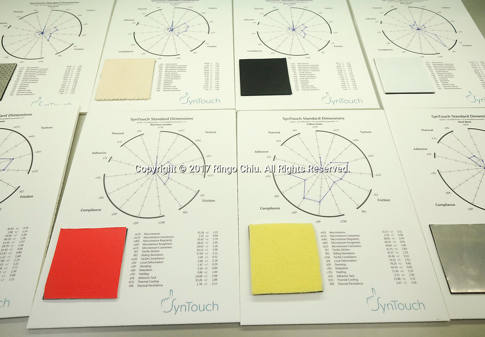 Material samples at SynTouch.  (Photo by Ringo Chiu)<br /> <br /> Usage Notes: This content is intended for editorial use only. For other uses, additional clearances may be required.