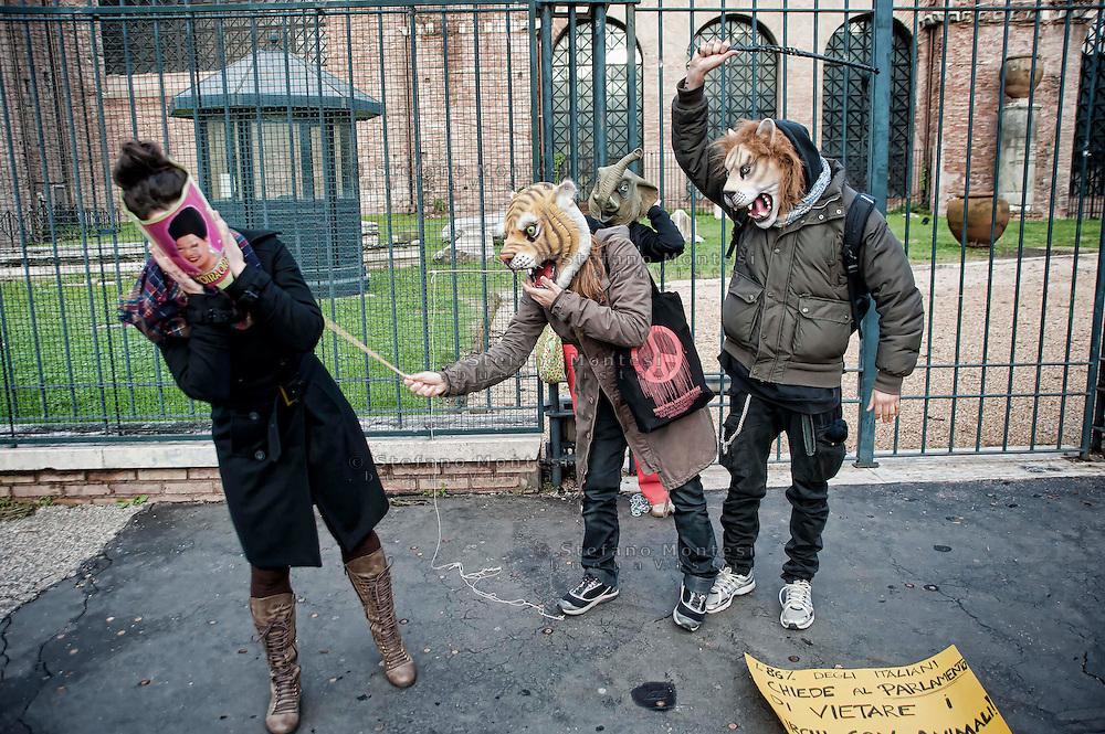Roma 1 Dicembre 2012.Manifestazione  dal Coordinamento antispecista e da Animal Amnesty per un circo senza animali..Animalisti contro Moira Orfei