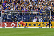 nCHICAGO, IL - AUGUST 02: Real Madrid goalkeeper Luca Zidane (30) dives after a MLS All-Star and Atlanta United FC Midfielder Miguel Almiron (26) missed postgame penalty kick during a soccer match between the MLS All-Stars and Real Madrid on August 02, 2017, at Soldier Field in Chicago, IL. The game ended in a 1-1 tie with Real Madrid winning on penalty kicks 4-2. (Photo By Daniel Bartel/Icon Sportswire)