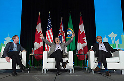 Microsoft Co-Founder, Bill Gates, centre, and Chief Executive Officer of Microsoft Satya Nadella (right) take part in a discussion during the Emerging Cascadia Innovation Corridor Conference in Vancouver, B.C., Tuesday, Sept. 20, 2016. Photo by Jonathan THE CANADIAN PRESS/ ABACAPRESS.COMHayward