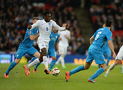 Wayne Rooney of England (Manchester United) attacks in the Slovenia half. - Photo mandatory by-line: Alex James/JMP - Mobile: 07966 386802 - 15/11/2014 - SPORT - Football - London - Wembley - England v Slovenia - EURO 2016 Qualifier
