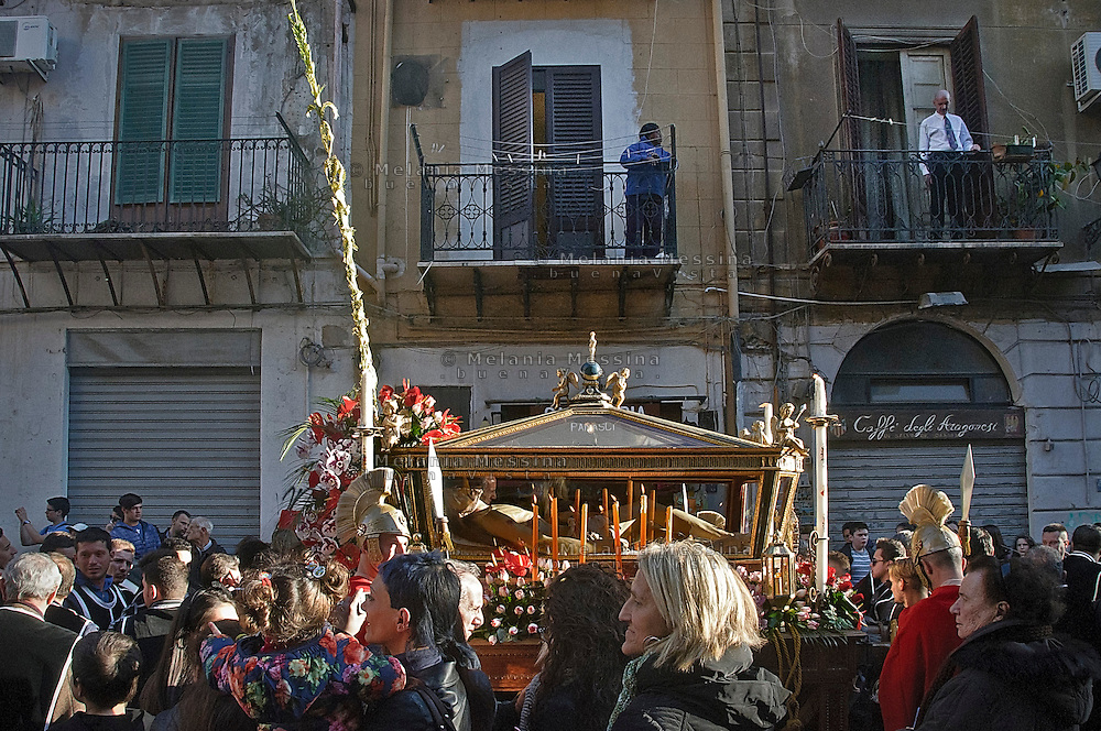 Celebrazione dei riti pasquali nel  centro storico di Palermo.<br />