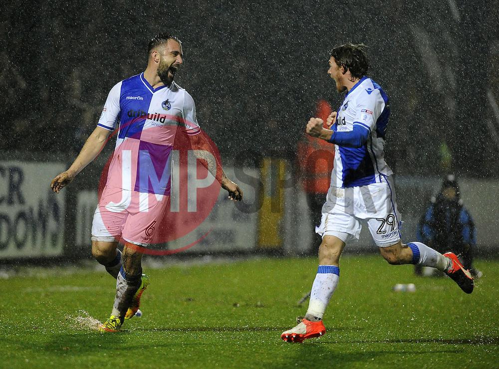 Peter Hartley of Bristol Rovers celebrates with Luke James of Bristol Rovers - Mandatory by-line: Neil Brookman/JMP - 10/12/2016 - FOOTBALL - Memorial Stadium - Bristol, England - Bristol Rovers v Bury - Sky Bet League One