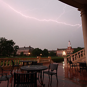 Personal photo of mine (non-editorial) of lightning over Oklahoma State University. It was from two stacked frames seconds apart. (Stillwater, Oklahoma)