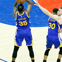 07 December 2016: Golden State Warriors forward Kevin Durant (35) takes a jump shot over LA Clippers forward Blake Griffin (32) on a screen set by Golden State Warriors guard Stephen Curry (30) during the Golden State Warriors 115-98 victory over the Los Angeles Clippers, at the Staples Center, Los Angeles, California, USA.