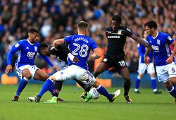 Joshua Onomah of Aston Villa tries to break with the ball as the Birmingham City defence block - Mandatory by-line: Paul Roberts/JMP - 29/10/2017 - FOOTBALL - St Andrew's Stadium - Birmingham, England - Birmingham City v Aston Villa - Skybet Championship