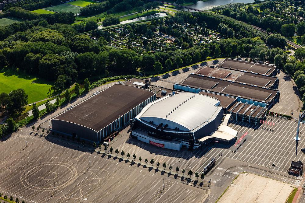 Nederland, Zuid-Holland, Rotterdam, 15-07-2012; Zuiderparkplein met de verschillende hallen van Ahoy Rotterdam.The south of Rotterdam, sports and event hall Ahoy ..luchtfoto (toeslag), aerial photo (additional fee required).foto/photo Siebe Swart