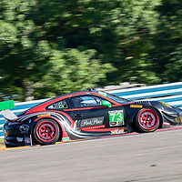 The Park Place Motorsports Porsche 911 GT3 R car practice for the Sahlen's Six Hours At The Glen at Watkins Glen International Raceway in Watkins Glen, New York.
