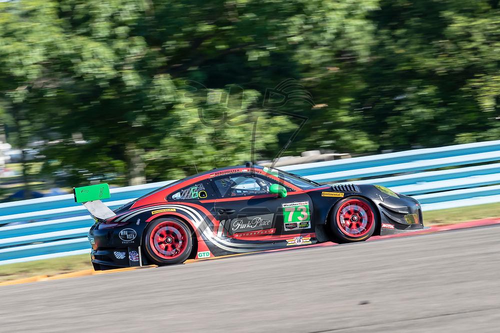 The Park Place Motorsports Porsche 911 GT3 R car practice for the Sahlen's Six Hours At The Glen at Watkins Glen International Raceway in Watkins Glen, New York.