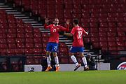 23rd March 2018, Hampden Park, Glasgow, Scotland; International Football Friendly, Scotland versus Costa Rica; Marco Urena of Costa Rica celebrates after scoring