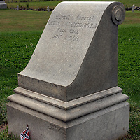Monument marking the spot where Confederate Brigadier General Lewis Armistead fell mortally wounded. Armistead's men made the deepest penetration during Pickett's Charge marking the High Water Mark of the Confederacy. Gettysburg