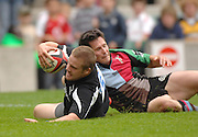 Twickenham, GREAT BRITAIN, Falcons Luke FIELDEN gets his arm over to score a try Danny CARE challenges, during the sevens game Harlequins vs Sale Sharks at Twickenham Stadium, on Sat.18.08.2007 [Mandatory Credit. Peter Spurrier/Intersport Images]
