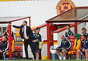 Ian Baraclough sending some tactics during the Ladbrokes Scottish Premiership match between Motherwell and Aberdeen at Fir Park, Motherwell, Scotland on 15 August 2015. Photo by Craig McAllister.