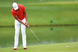 May 3, 2019 - Charlotte, NC, U.S. - CHARLOTTE, NC - MAY 03: Tony Finau putts the ball on 16 during round two of the Wells Fargo Championship on May 03, 2019 at Quail Hollow Club in Charlotte,NC. (Photo by Dannie Walls/Icon Sportswire) (Credit Image: © Dannie Walls/Icon SMI via ZUMA Press)