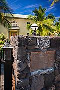Historic plaque at the Hulihee Palace, Kailua-Kona, Hawaii, USA