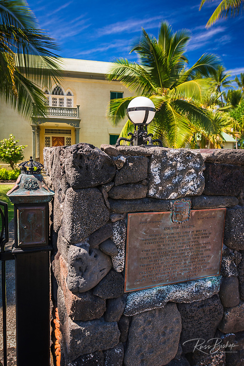 Historic plaque at the Hulihee Palace, Kailua-Kona, Hawaii, USA